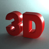 3D word shinny red. Photo realistic with light and shadow — Stock Photo