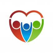 People heart logo — Stock Vector