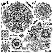 Set of ornamental Indian symbols — Stock Vector