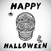 Vector vintage Halloween skull illustration — Stock Vector