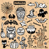 Vector vintage Halloween set of icons — Cтоковый вектор