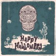 Vector vintage Halloween skull illustration — Stock Vector #53510683