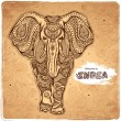 Vector vintage Indian elephant illustration — Stock Vector #54518051