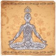 Vintage vector illustration with a meditation pose — Stock Vector #55934557