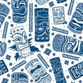 Vintage Aloha Tiki seamless pattern — Stock Vector