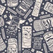 Vintage Aloha Tiki seamless pattern — Cтоковый вектор