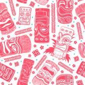 Vintage Aloha Tiki seamless pattern — Vector de stock