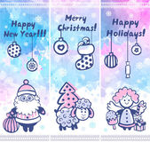 Watercolor Christmas vector set of banners can be used as a gree — Stock Vector