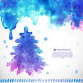 Watercolor Christmas vector illustration with a pine tree — Vector de stock