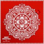 Beautiful Christmas lace ornament with a knitted background — Stok Vektör