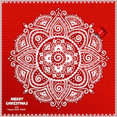 Beautiful Christmas lace ornament with a knitted background — Vecteur