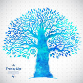 Unique vector watercolor ethnic tree of life — Vettoriale Stock