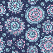 Vintage Christmas seamless pattern with flowers and snowflakes — Cтоковый вектор