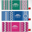 Beautiful Christmas set of banners with lace ornaments and knitt — Stock Vector #59192283
