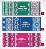 Hermoso conjunto de Navidad de banners con adornos de encaje y sueter — Vector de stock
