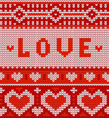 Sevgililer sorunsuz vektör örme desen yürekleri — Stok Vektör