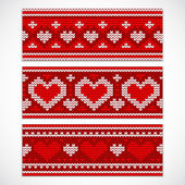 Valentines seamless knitted banners with hearts — Stock Vector