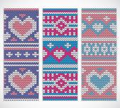 Valentines naadloos gebreide banners met hart — Stockvector