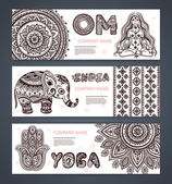 Vector set of banners with ethnic and yoga symbols — Stock Vector
