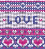 Valentines seamless vector knitted pattern with hearts — Vector de stock