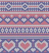 Valentines seamless vector knitted pattern with hearts — Stock Vector