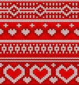 Valentines seamless vector knitted pattern with hearts — Stock vektor