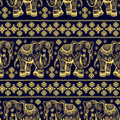 Elefante étnicos inconsútil — Vector de stock