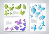 ベクトル蝶名刺のセット — ストックベクタ