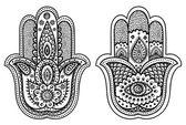 Vector Indian hand drawn hamsa with ornaments — Stock Vector