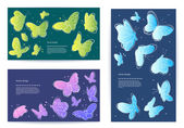 Set of vector butterfly business cards, banners. — Stock Vector