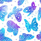 Watercolor Vintage butterfly seamless pattern — Stock Vector