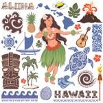 Vector Retro set of Hawaiian icons and symbols — Stock Vector #69759885