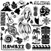 Vector Retro set of Hawaiian icons and symbols — Stock Vector