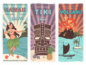 Retro set of banners with  Hawaiian symbols — Cтоковый вектор