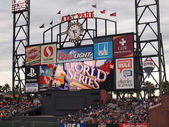 ATT Park HDTV Scoreboard in the outfield bleachers displays Worl — Stock Photo