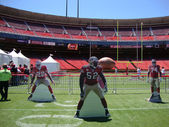 49er football player cut out stand on field at FanFest to kickoff the new season — Stock Photo