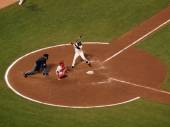 Giants batter Edgar Renteria stands in batters box with Carlos  — Stock Photo