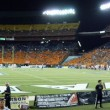 Panoramic of football field of college football game at night d — Stock Photo #61349355