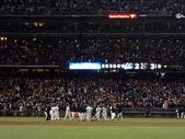 Giants baseball team celebrates walk off win over the Washington — Stock Photo