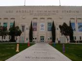 Exterior of Los Angeles Swimming Stadium front entrance — Foto de Stock