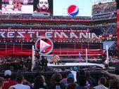 WWE Wrestler Rusev puts John Cena in The Accolade during wrestli — Stock Photo