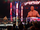 The Beast Brock Lesner stands in the ring with Paul Heyman ready — Stock Photo