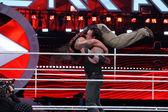 WWE Wrestler the Undertaker tombstone piledrivers Bray Wyatt mid — Stock Photo