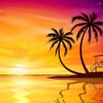 Zonsondergang, zonsopgang met strand moer — Stockvector  #60631423