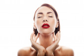 Beauty portrait of caucasian woman with red lips — Stock Photo