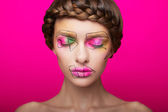Beauty shooting with cubism makeup — Stock Photo