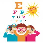 Children at the eye doctor. — Stock Vector