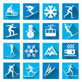 Winter sport blue web icons — ストックベクタ
