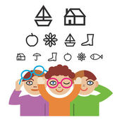 Children and optometry test — 图库矢量图片