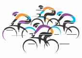 Cyclists racers colorful background — Stock Vector